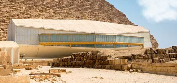 Things to do in Giza - The pavillion with Khufu ship outside of pyramid of Khufu