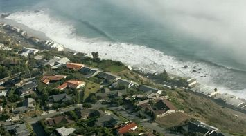 title: Aerial View of Malibu Beach and Houses in Los Angeles