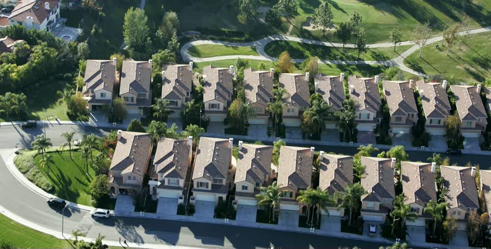 title: Aerial View of the Similar Architecture of Houses in LA Neighborhood