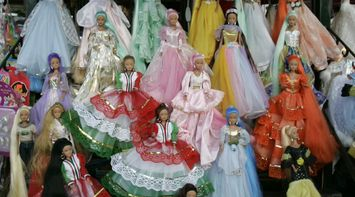 title: Barbie Dolls in Pricess Dresses for Sale at Shop in San Diego