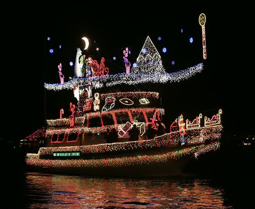 title: Christmas decorated Boat at Newport Beach