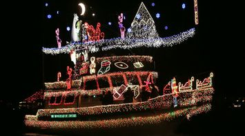 title: Beautiful Stunning Christmas Lights Decorations at Newport Beach on a Boat