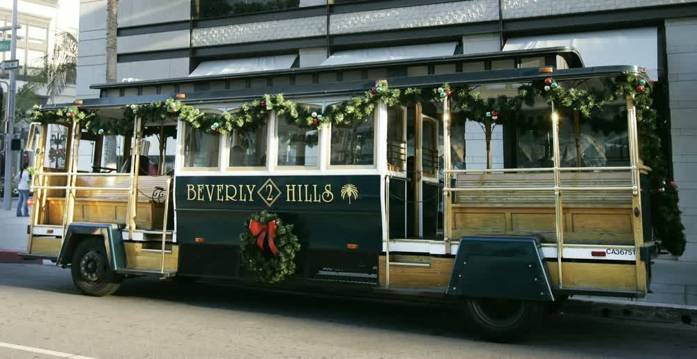 title: Beverly Hills Transport Tourist Bus in Los Angeles at Christmas