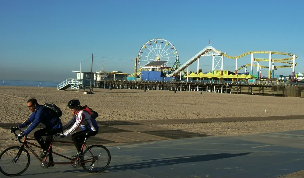 Biking on Sant Monica Pier Beach