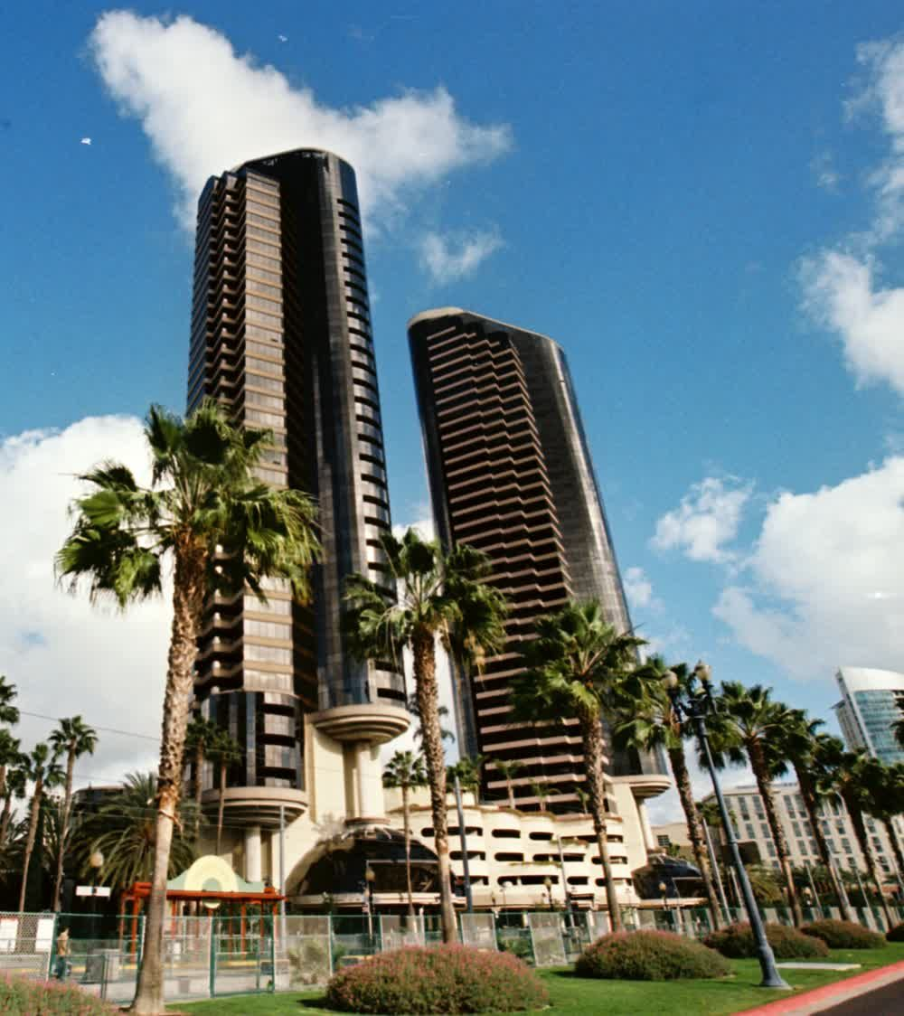 title: Black Twin Tower Structures of San Diego