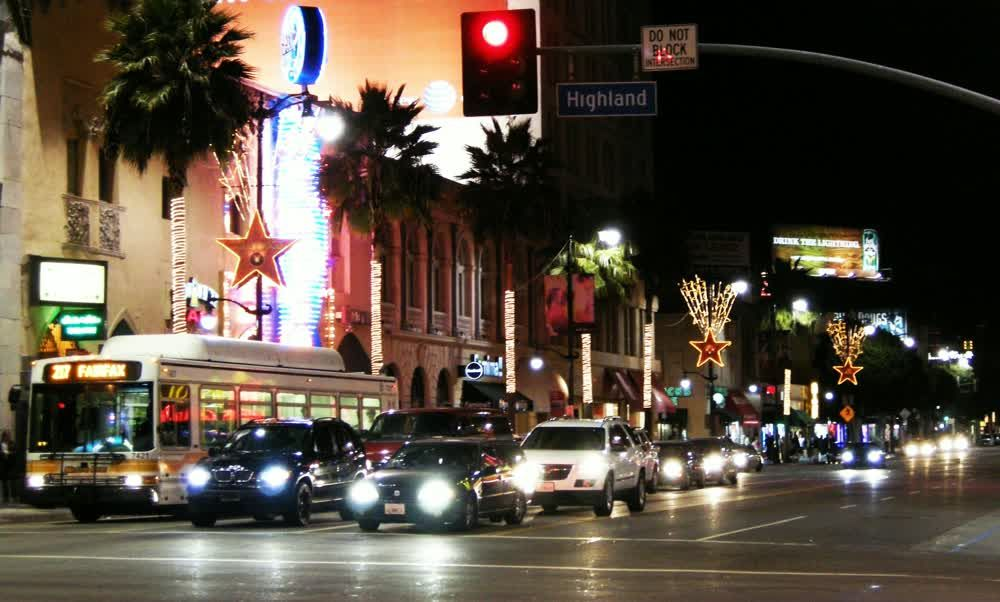 Cars on the Street at Night on Hollywood Boulevard