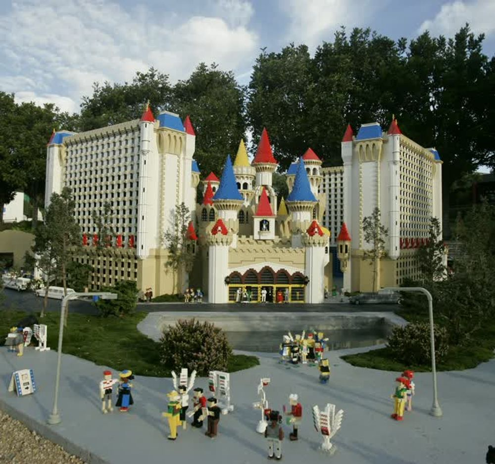 title: Castle Style Building with Colorful Towers at Legoland
