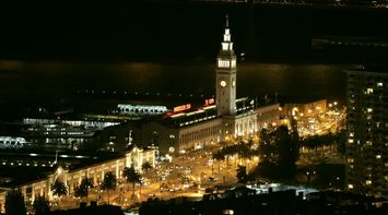 title: Clock Tower at Night at the Port of San Francisco
