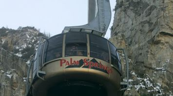 title: Close Up of the Palm Springs Aerial Tramway to the Snow