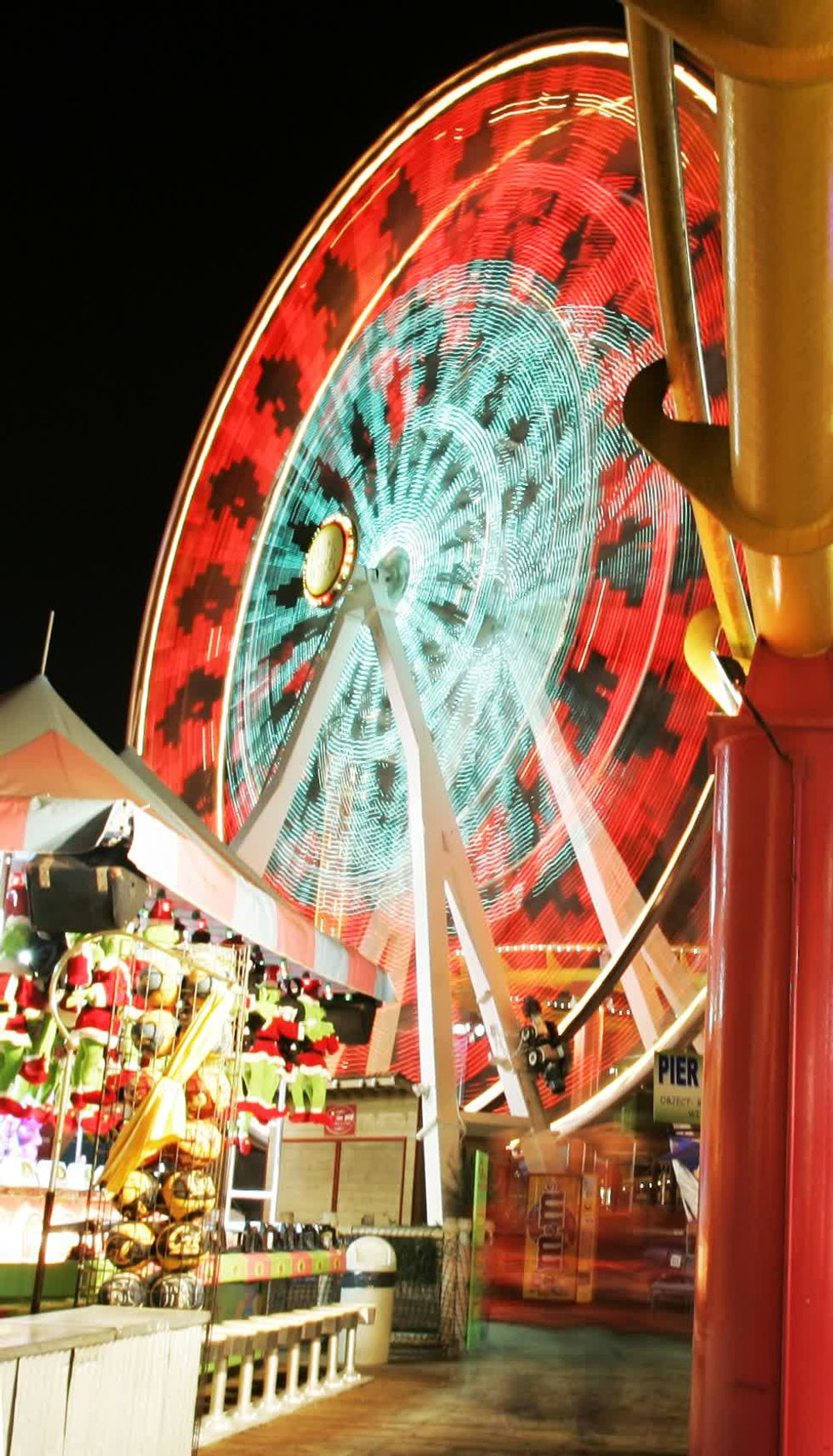 Colorful Lit Up Wheel at Sant Monica Luna Park in Los Angeles