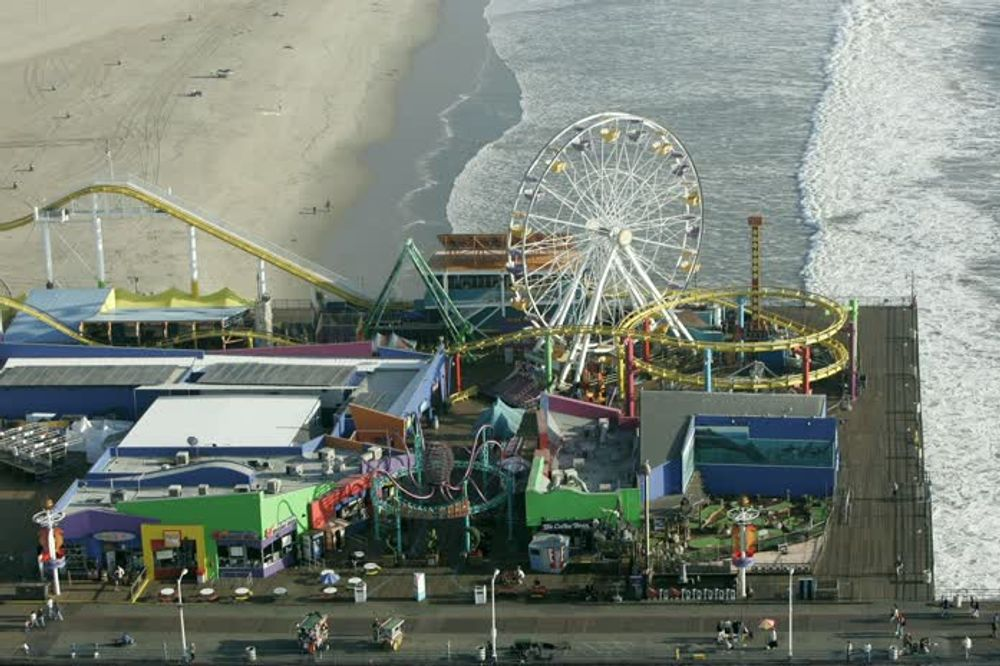 title: Colorful Santa Monica Luna Park Adventures from the Sky View
