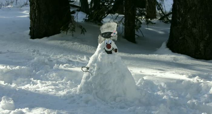 title: Complete Happy Face Snowman in the Snow at Palm Springs