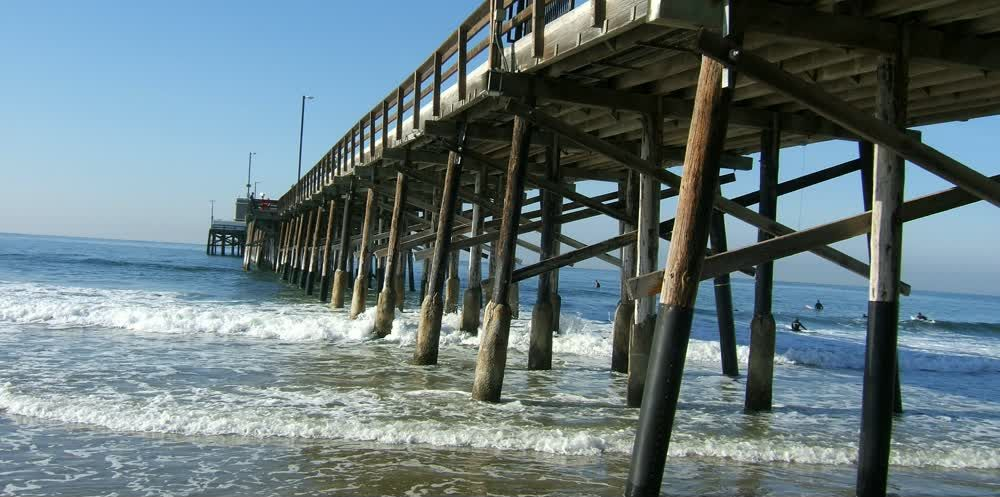 title: Cool Pier Wooden Structure at Newport Beach
