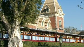 Crowded Disneyland Historic Main Street Station