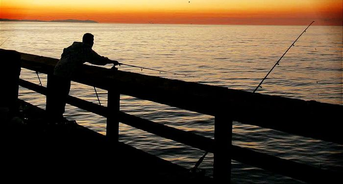 title: Fishing at Sunset on Stearns Wharf