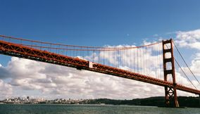 title: Cloud view of golden gate bridge