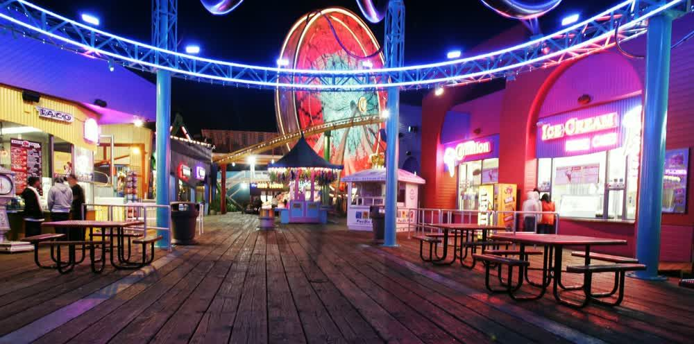 title: Inside the Colorful Santa Monica Luna Park at Night