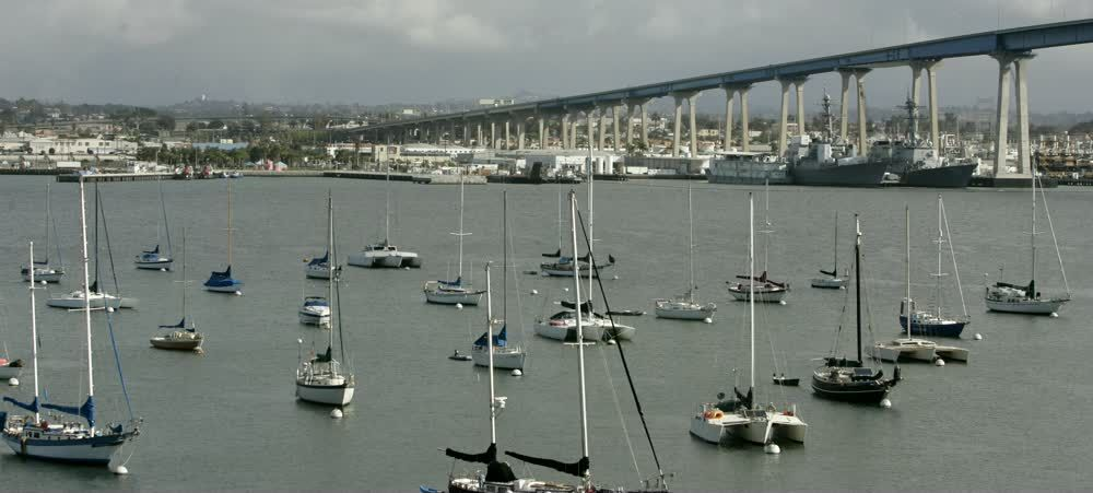 title: Many Water Vessels Sailboats and Ships on the Docks in San Diego