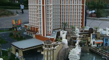 title: Miniature Island Building and Structures at Legoland Resort