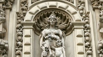 title: Ornate Statue in San Diego s Balboa Park Building