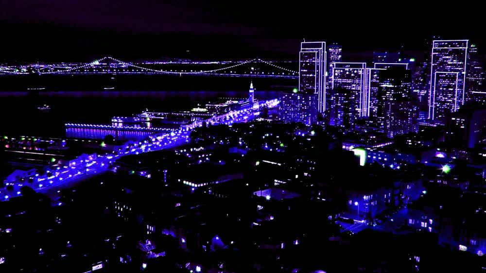 title: Photoshopped Purple City of San Francisco at Night