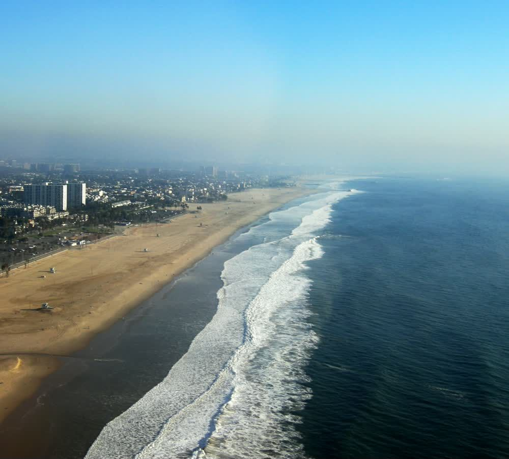 title: Picturesque Natural California Beach from the Sky View