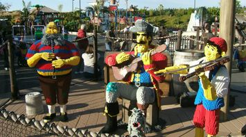 title: Pirate Lego Statues Playing Instruments in a Band