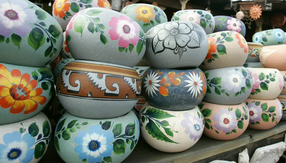 title: Pretty Bowls with Painted Flowers for Sale