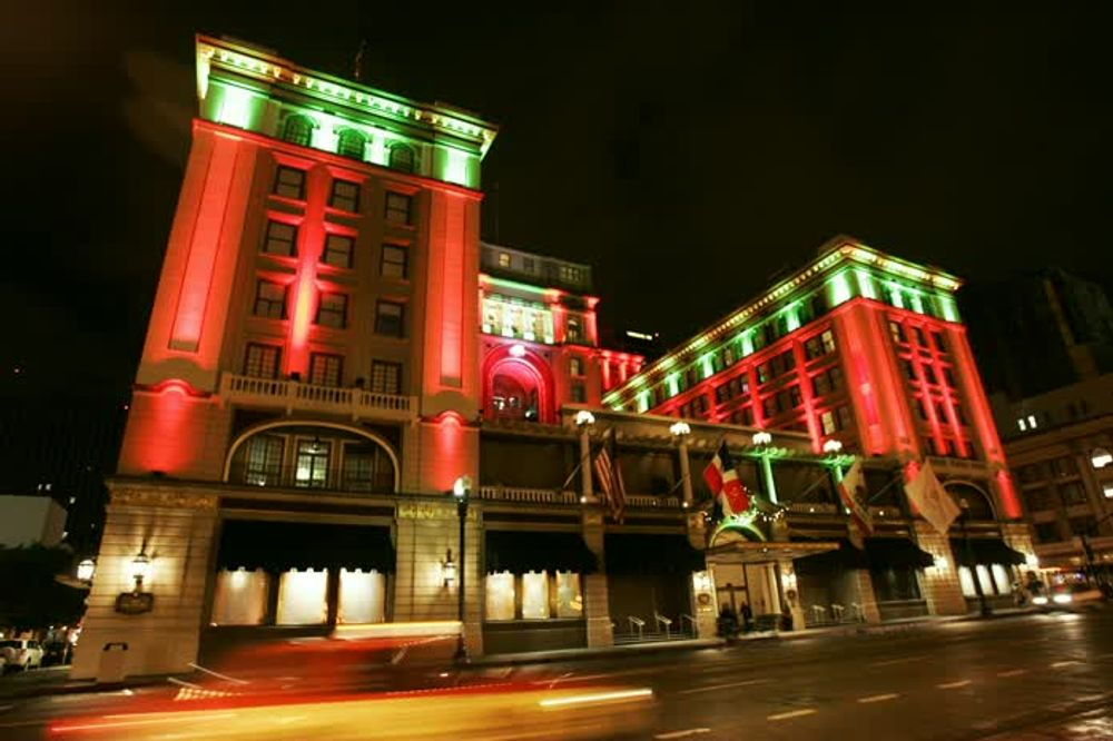 title: Red and Green Lighting Decor of Building in San Diego