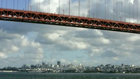 title: The city space behind the Golden Gate Bridge