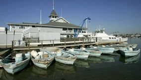 title: Vintage Blue Fishing Boats on the Harbor
