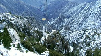 title: Snowy Forest Mountain Scenery and Cables in Palm Springs in Winter