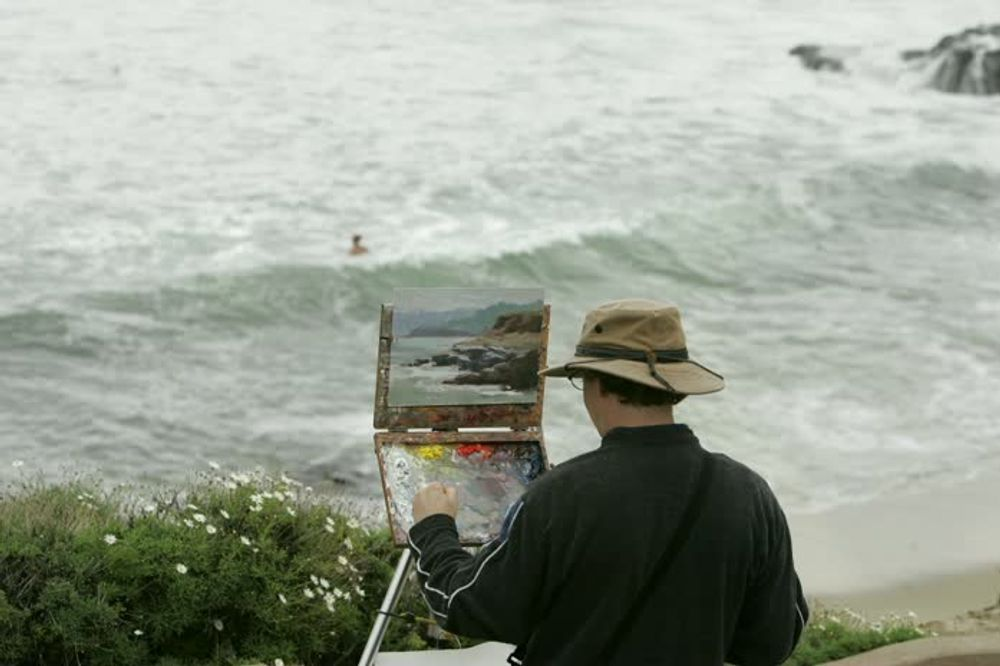 title: Talented Artists Painting the Ocean of Beach of La Jolla San Diego