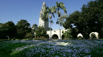 title: The California Bell Tower and San Diego Museum of Man