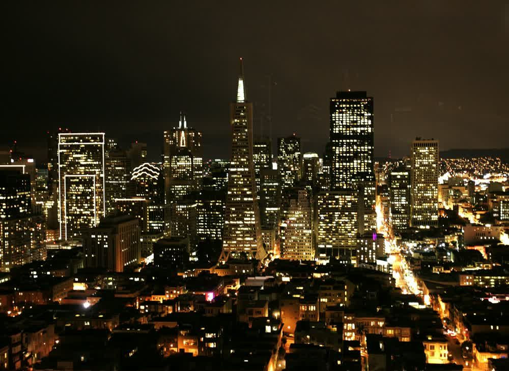 title: The City Lights of San Francisco and the Transamerica Pyramid Landmark
