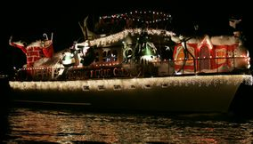 title: Christmas Theme Boat on Newport Beach