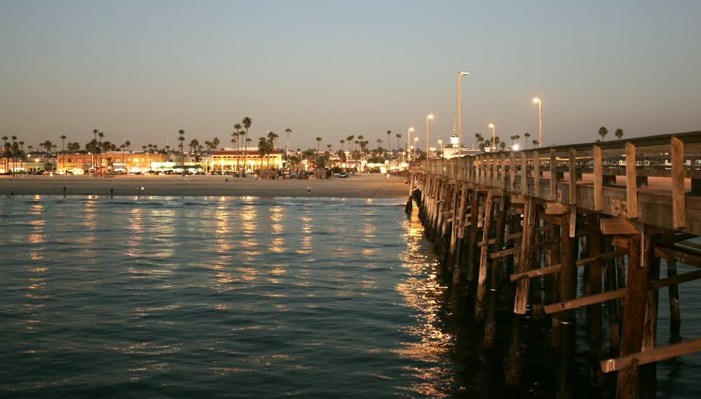 title: The Picturesque Pier of Newport Beach at Night