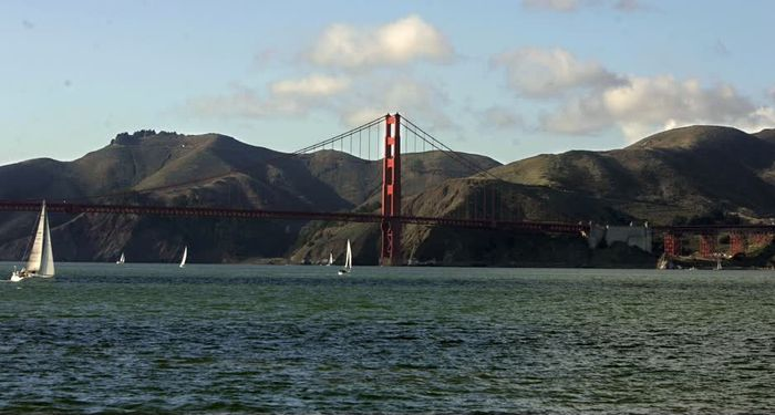 title: Red Golden Gate Bridge