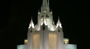 title: The San Diego Mormon Temple at Night