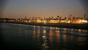 title: Sandy Newport Beach at night