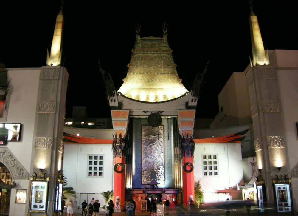 title: The TCL Chinese Theatre in the Evening Lit Up