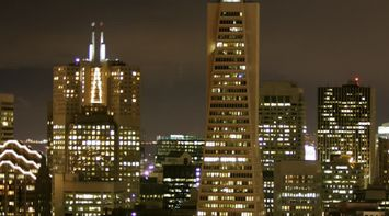 title: The Tall Transamerica Pyramid Structure Tower at Night