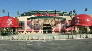 title: The Unique Decoration of the Exterior Entrance of the Angel Stadium of Anaheim in LA