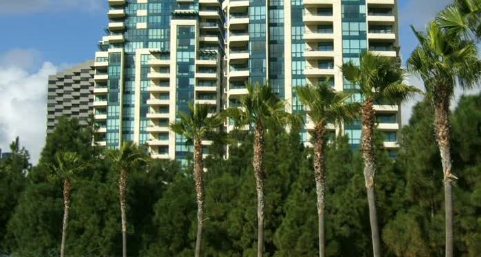 title: Twin Hotel Buildings by the Palm Trees and Water in San Diego