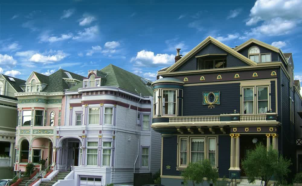 title: Two of the Victorian Painted Ladies Houses in San Francisco