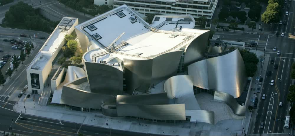 title: WALT DISNEY CONCERT HALL in Los Angeles from an Aerial Viewpoint