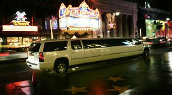 title: White Limo at Night on Hollywood Boulevard