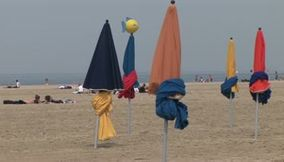 The colorful parasols of Deauville