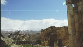 A View of the Bekaa Valley and Mountains from Temple