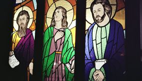Apostles Window Stained Glass Mosaic in Church
